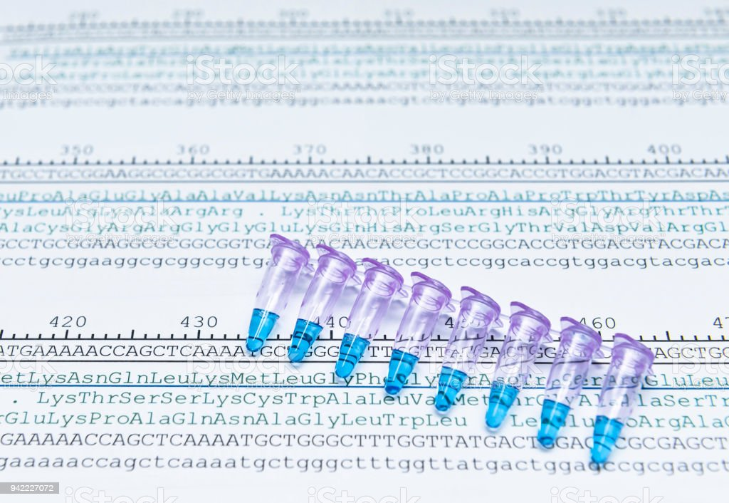 Protein sequencing by anaysis of codon of DNA sequence stock photo