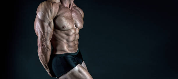 Protein supplements. Muscles for actions. Torso six packs attractive black background. Muscular torso huge muscles result of exhausting trainings and proper nutrition. Muscular torso close up stock photo