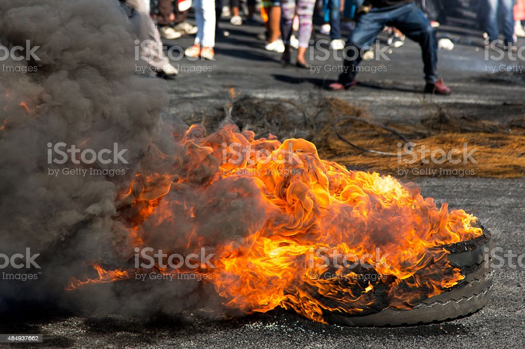 Protest Action with Burning Tyres stock photo