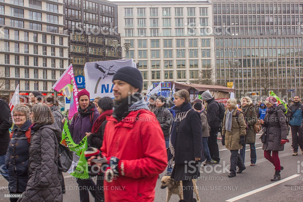 Protest against animal factories, GMO and TTIP in Berlin stock photo