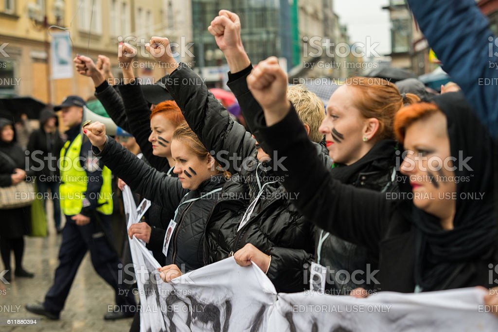 protest against anti-abortion law stock photo