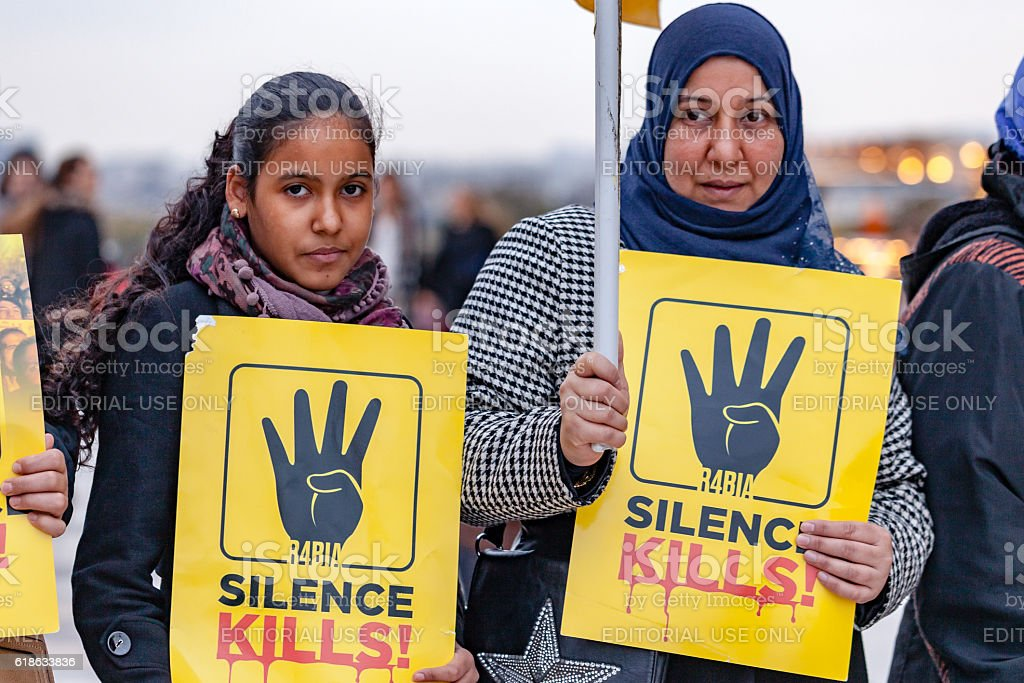 Protest against El-Sisi in Paris stock photo