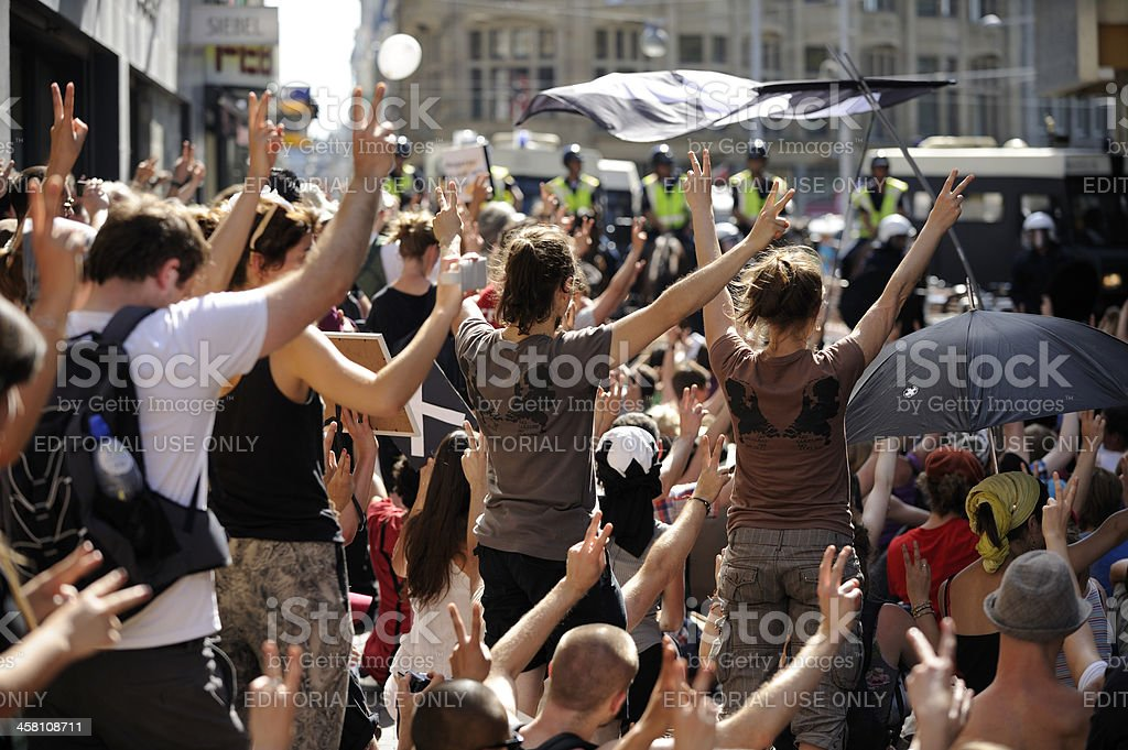 Protest against government cutbacks in the arts sector stock photo