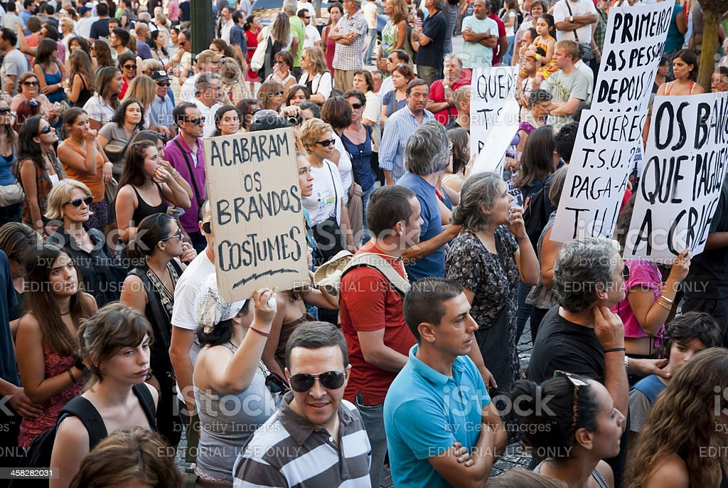 Protest against government spending cuts and tax rises royalty-free stock photo