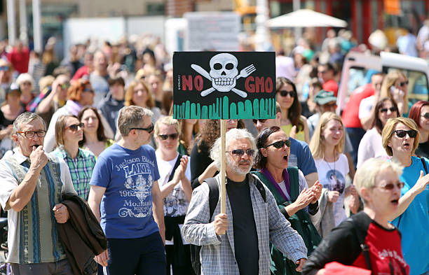 protest against monsanto, zagreb, croatia - genetic modification stock photos and pictures