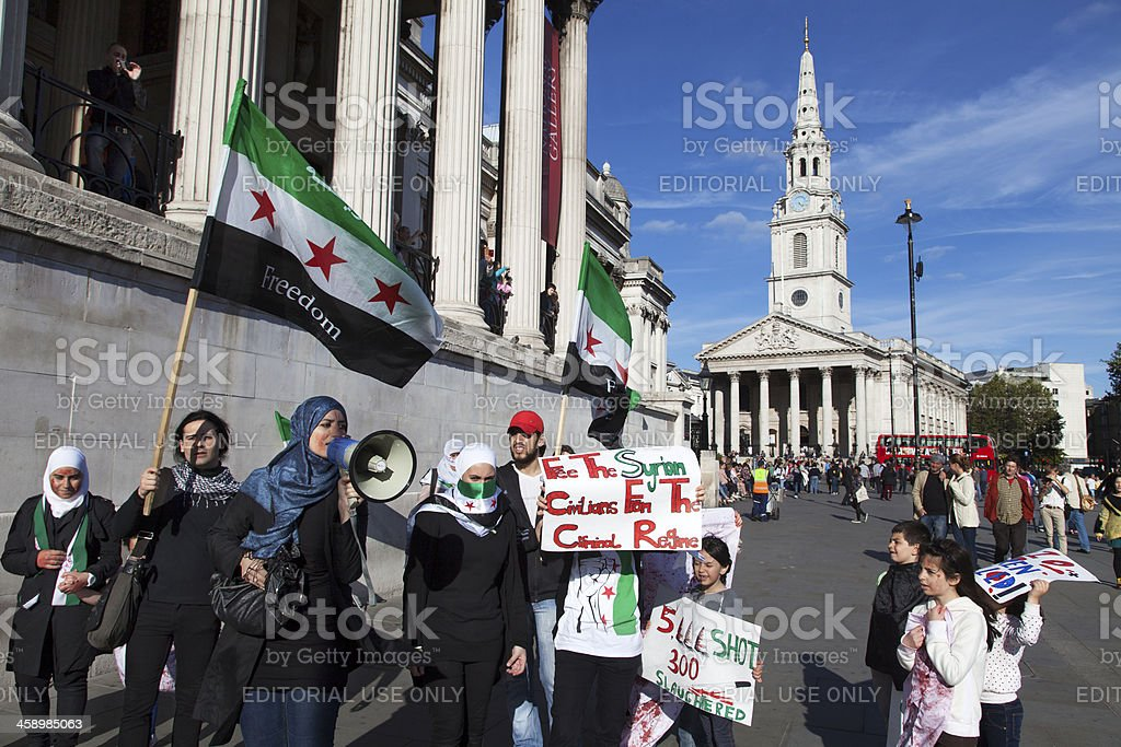 Protest against the civil war in Syria royalty-free stock photo