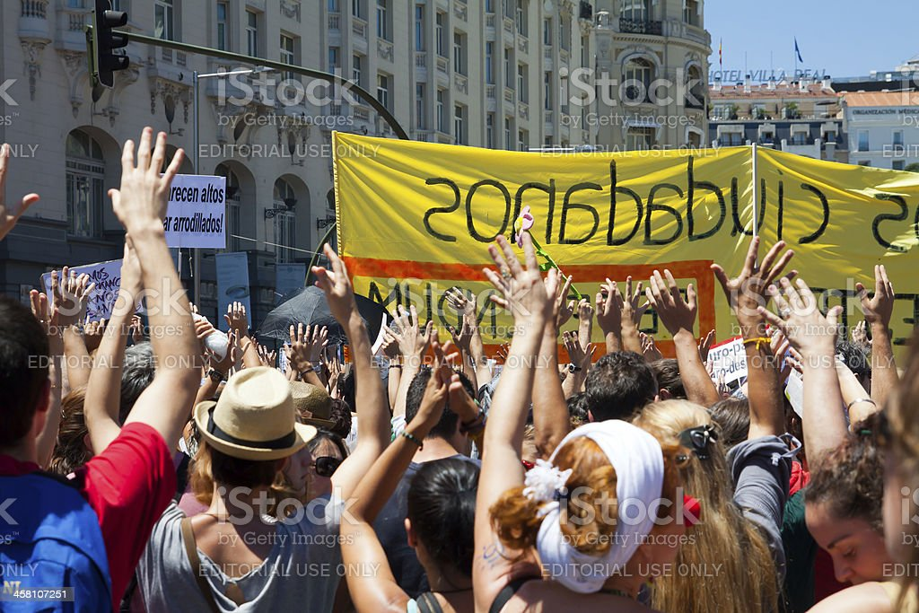 Protest against the spanish economic crisis and political system royalty-free stock photo