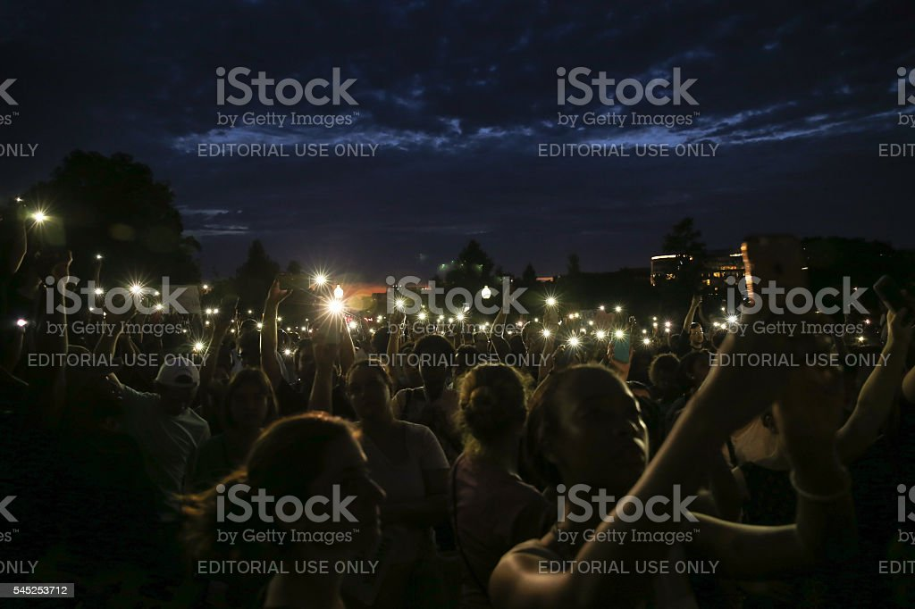 DC Protest for Police Shootings Washington, D.C. - July 7, 2016: Protestors gather at the United States Capitol Building after recent police involved shootings of Alton Sterling and Philando Castile Activist Stock Photo