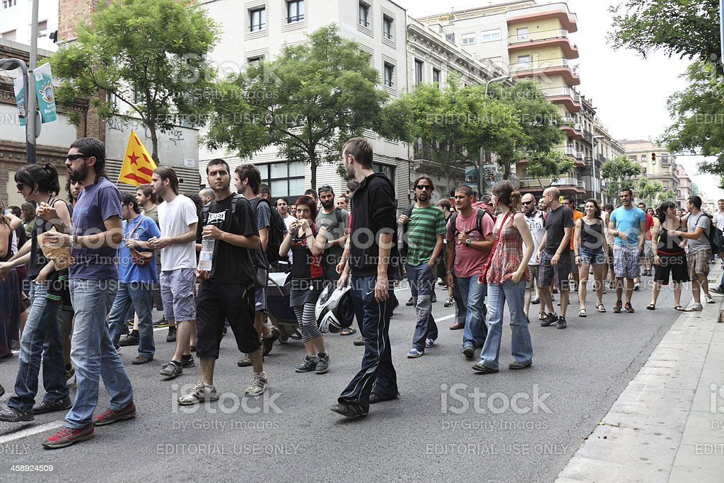 Protest in Barcelona royalty-free stock photo