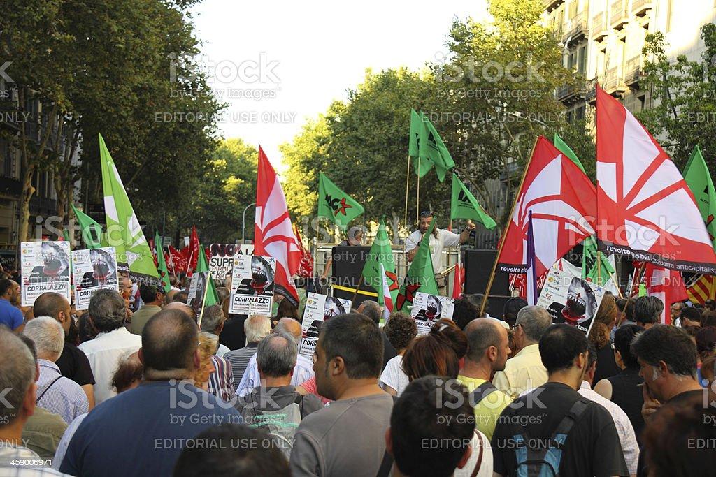 Protest in Barcelona stock photo