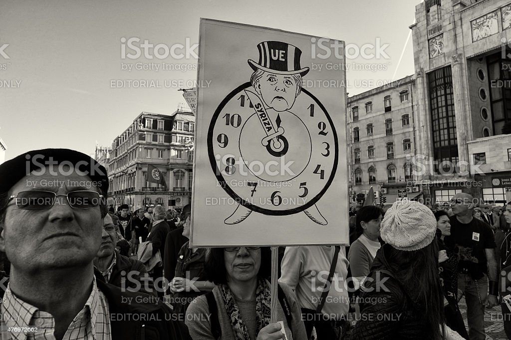 Protest in Lisbon stock photo