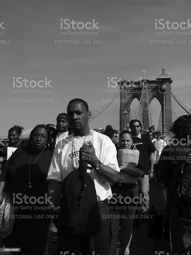 Protest march against Bloomberg's proposed HASA budget cuts stock photo
