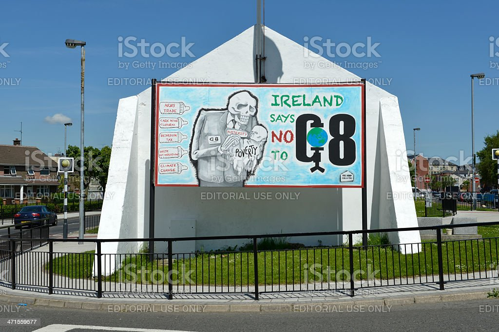 G-8 protest message in Northern Ireland royalty-free stock photo