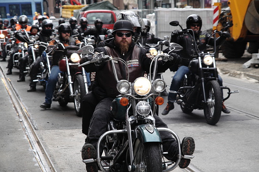 Oslo, Norway - September 14, 2013: Motorcycle clubs Bandidos, Gladiators, Hell's Angels, Coffin Cheaters, Road Pirates, Taurus and many others held the protest against the police bias.