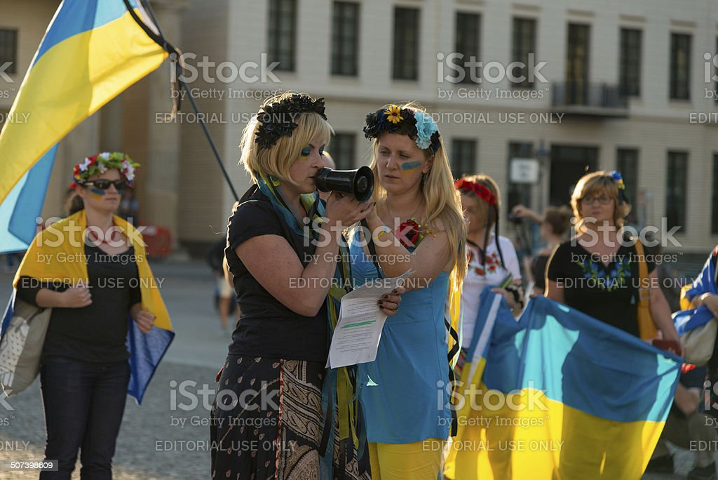 Protest of Ukrainian people at Brandenburger Tor Berlin stock photo