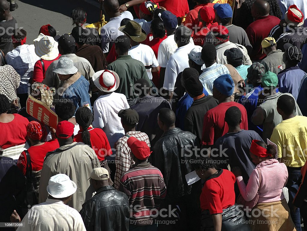 Protest Group of Black People Marching. Abundance Stock Photo
