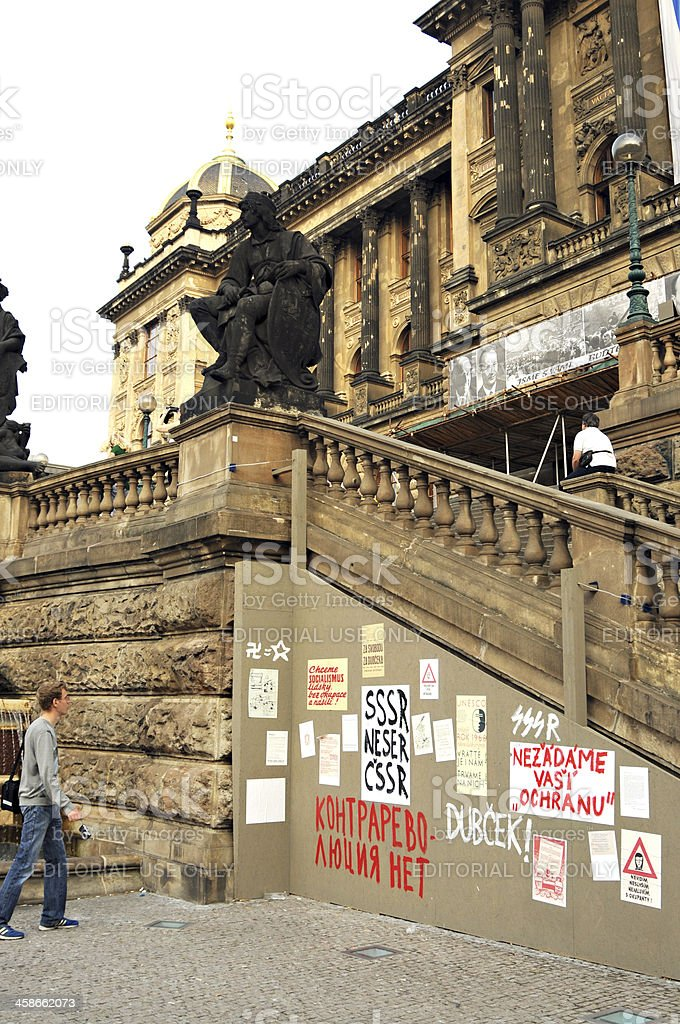 Protest posters in Prague stock photo