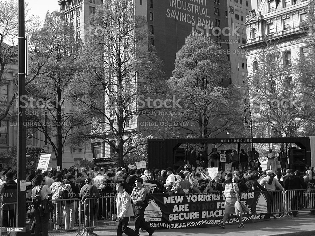 HASA protest rally in front of New York City Hall stock photo