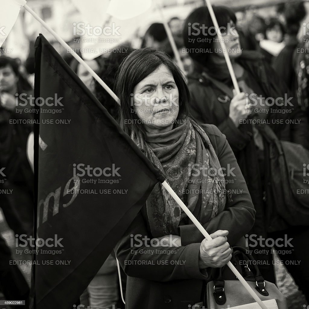 Protest Rally in Lisbon royalty-free stock photo