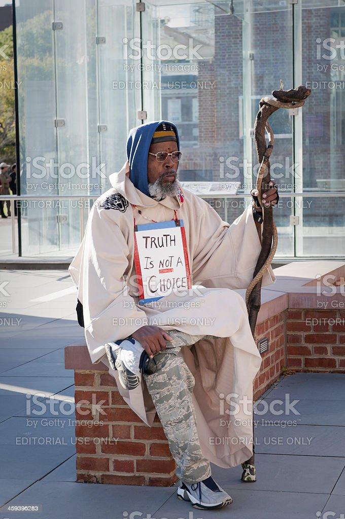 Protester at Liberty Bell Hall, Philadelphia, USA stock photo