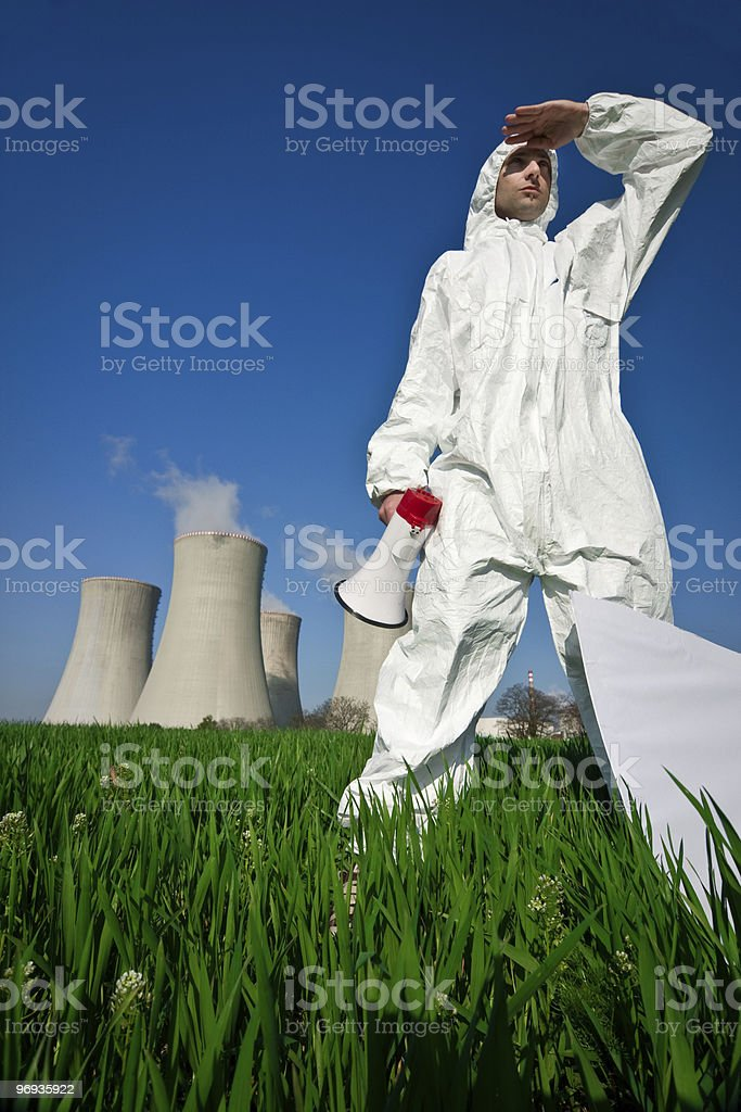 Protester at Nuclear Plant royalty-free stock photo