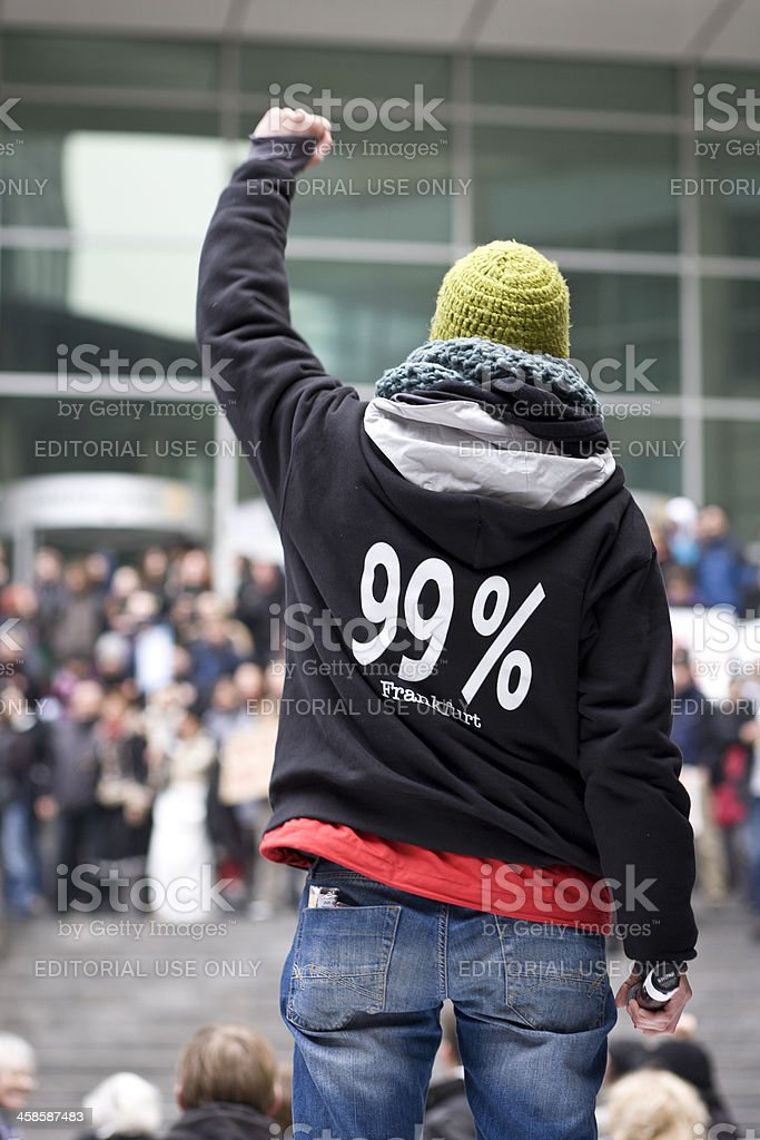Protester during 'Banken in die Schranken'-demonstration stock photo