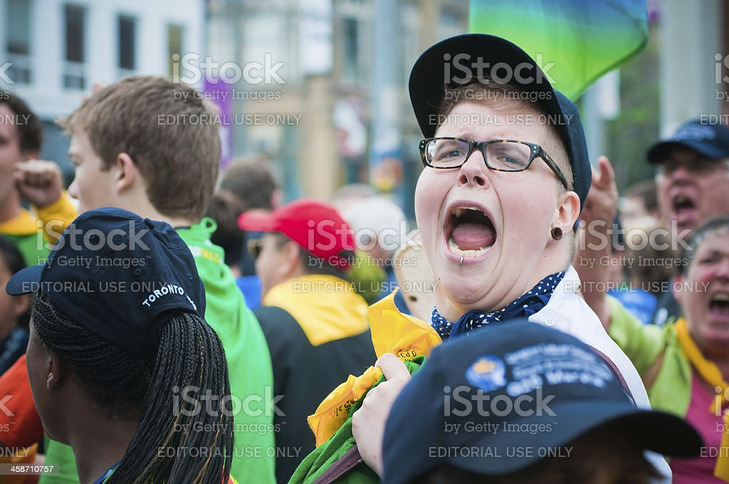Protester Yelling stock photo