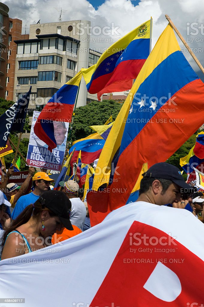 Protesters against Venezuelan government in a multitudinous parade stock photo