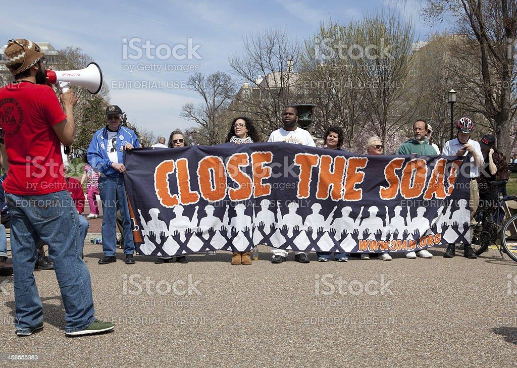 Protesters Demanding Closure School of the Americas stock photo