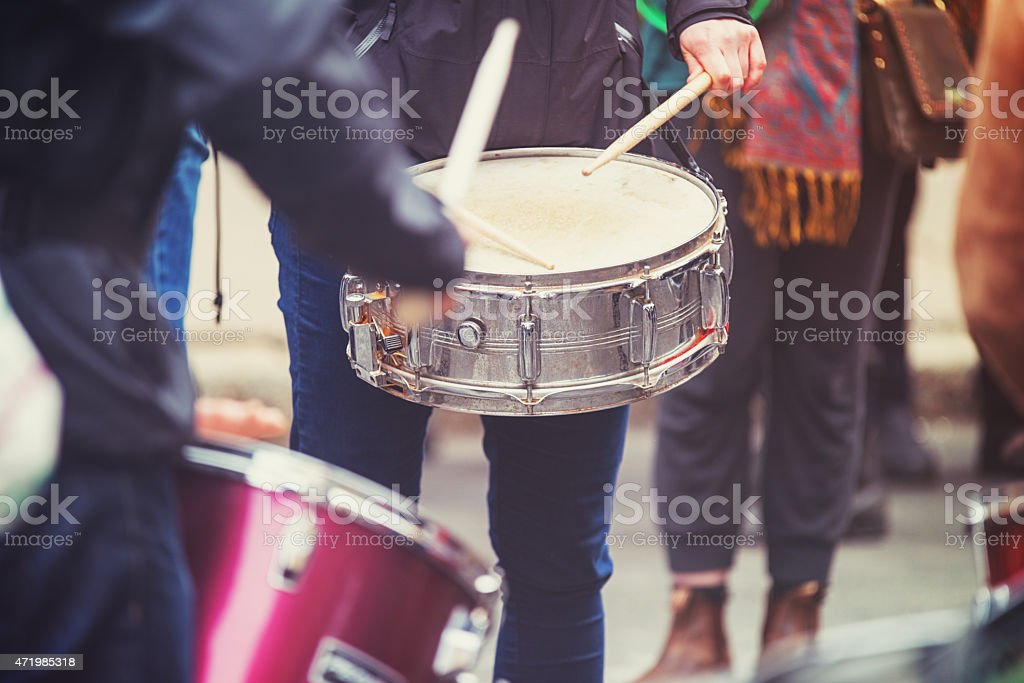 Protesters Drum in the Streets stock photo