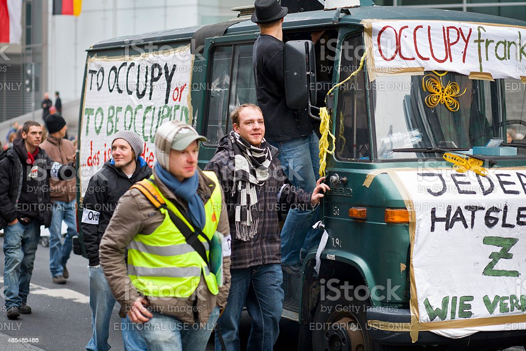 Protesters during 'Banken in die Schranken'-demonstration, Frankfurt stock photo