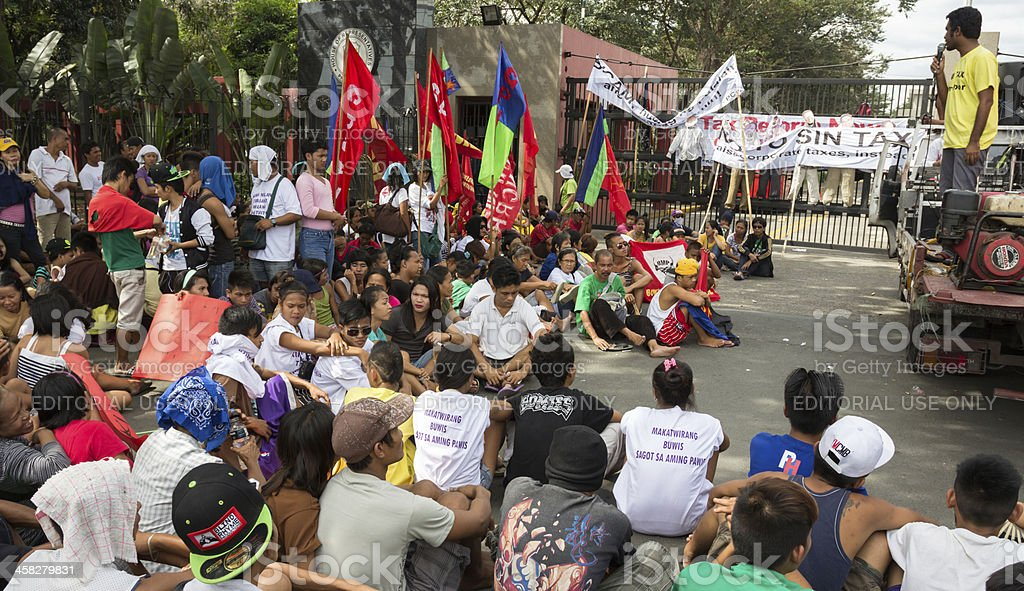Protesters in asia royalty-free stock photo