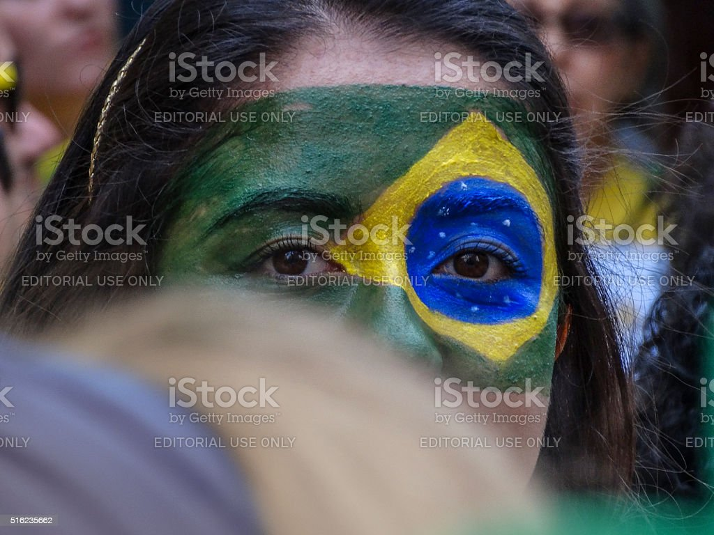 Protesters in  Brazil against President Dilma Rousseff (3) stock photo