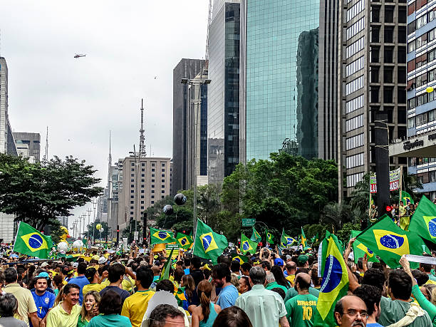Protesters in  Brazil against President Dilma Rousseff (10) stock photo