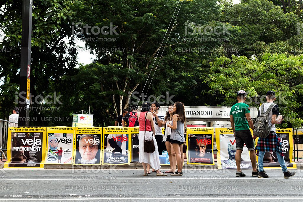 Protesters in day of protests stock photo