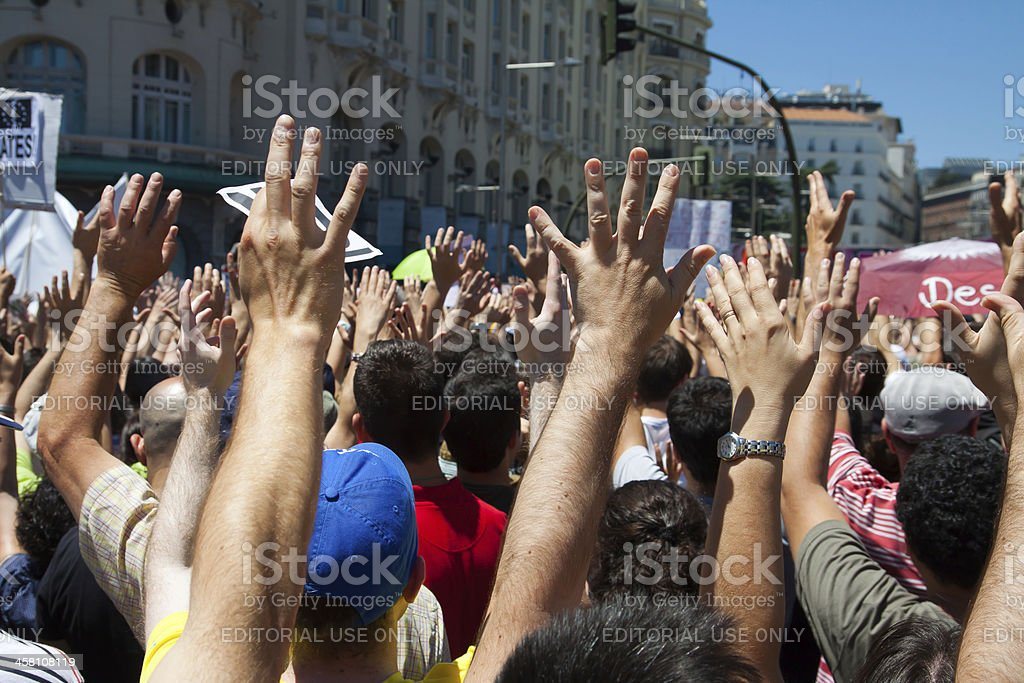 15M protesters in Madrid, Spain stock photo