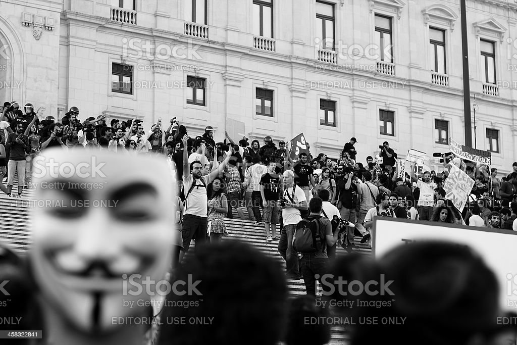 Protesters invade the parliament staircase stock photo