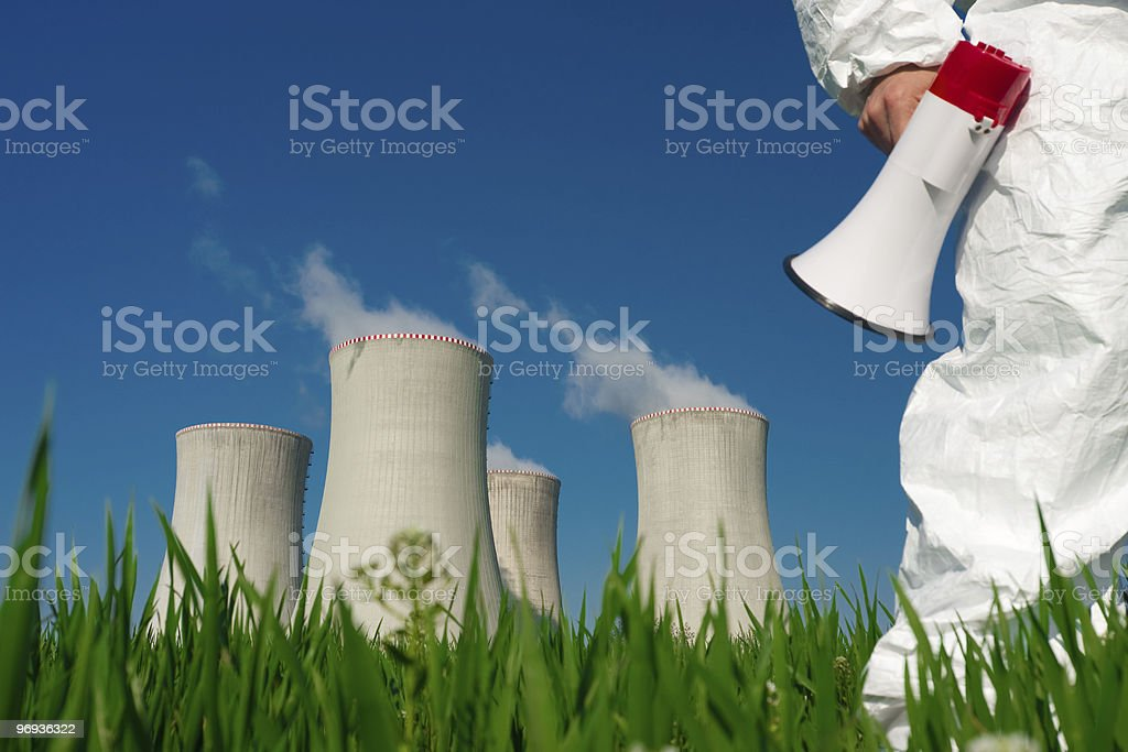 Protesting at Nuclear Plant royalty-free stock photo