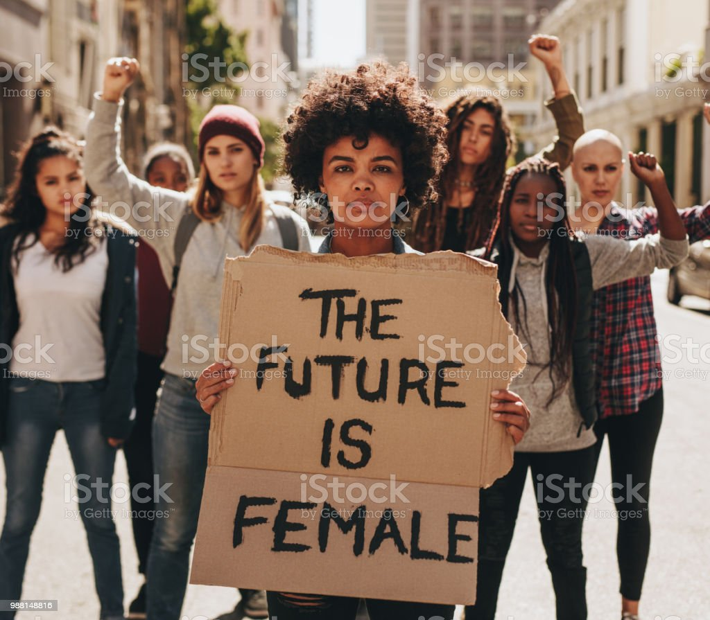 Protesting for women empowerment stock photo