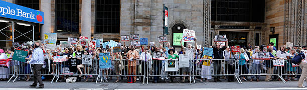 Protesting Fracking in Midtown stock photo
