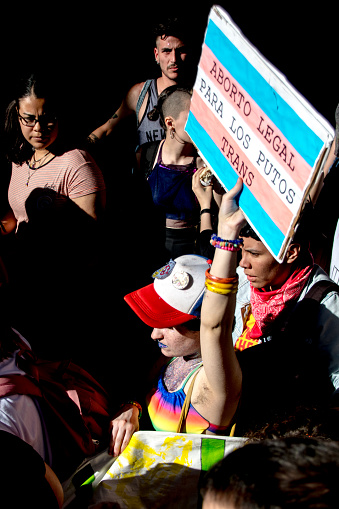 A protestor holds a sign during Gay Pride in Buenos Aires