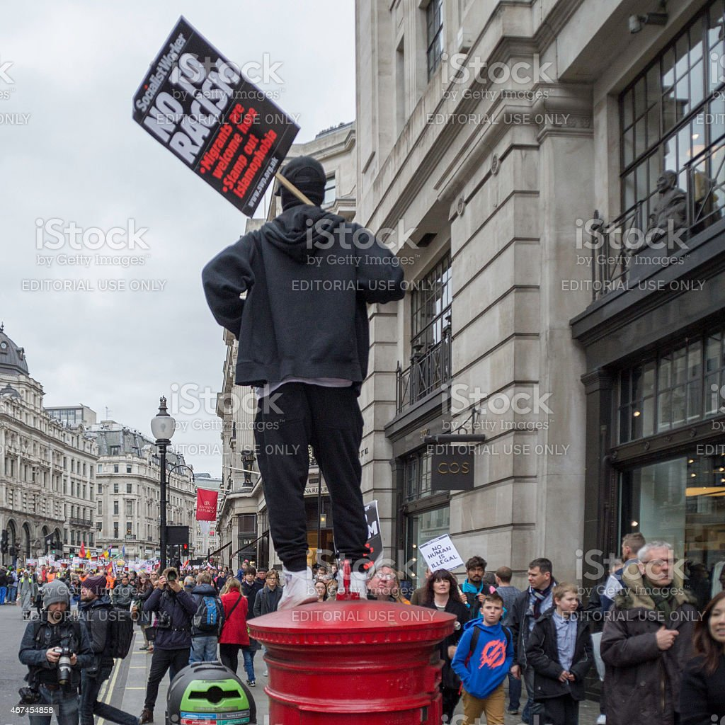 Protestor on a Postbox stock photo