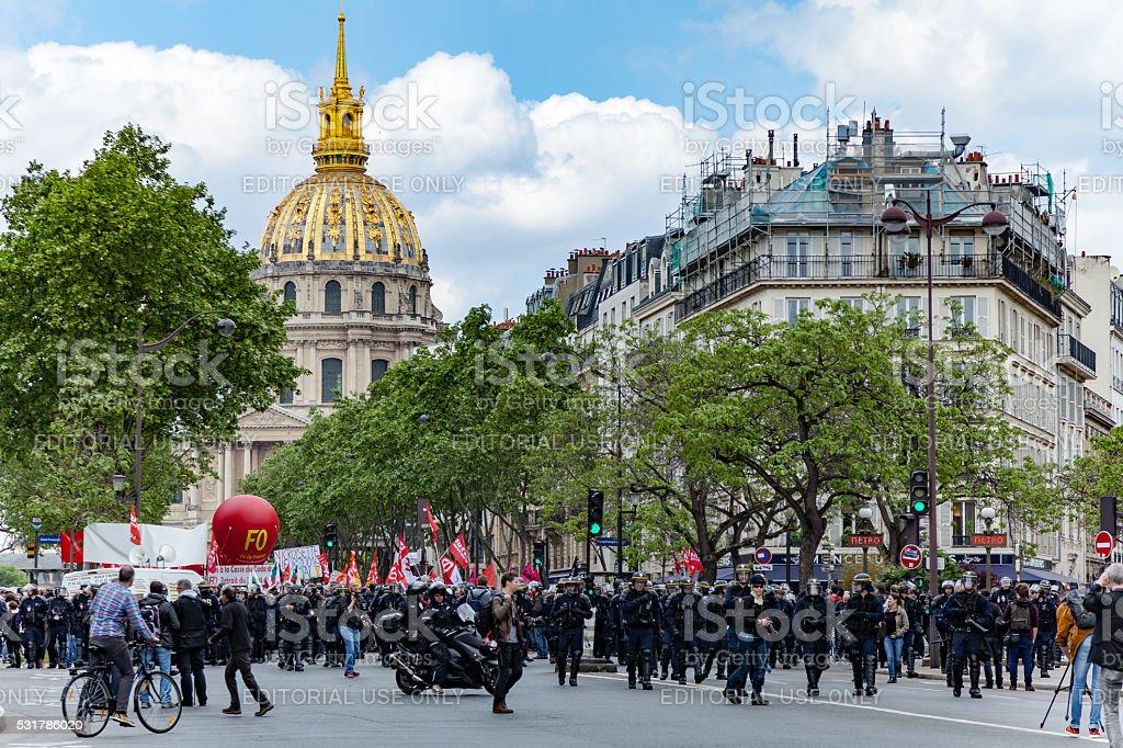 Protestors against Loi Travail stock photo