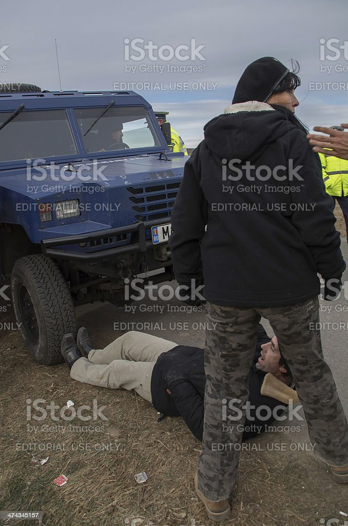 Protestors Blocking Police Truck stock photo