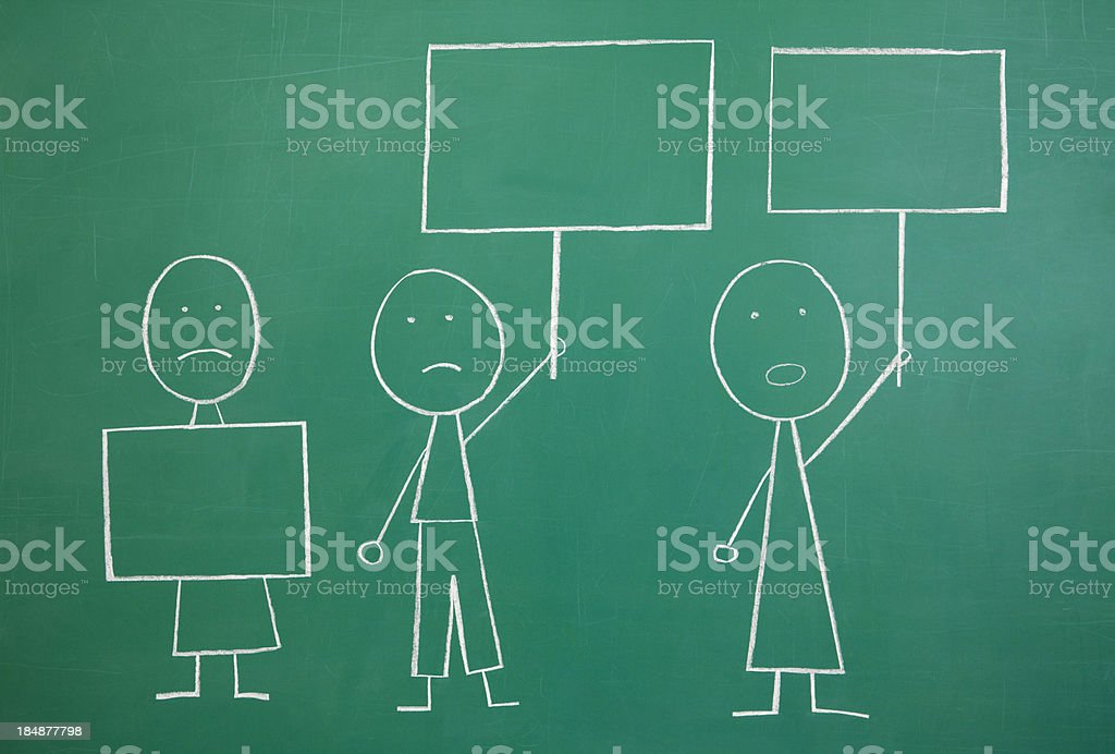 Protestors with Blank Signs Chalkdrawing stock photo