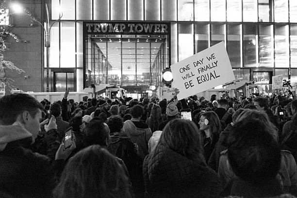 protests in new york's trump tower - trump 뉴스 사진 이미지