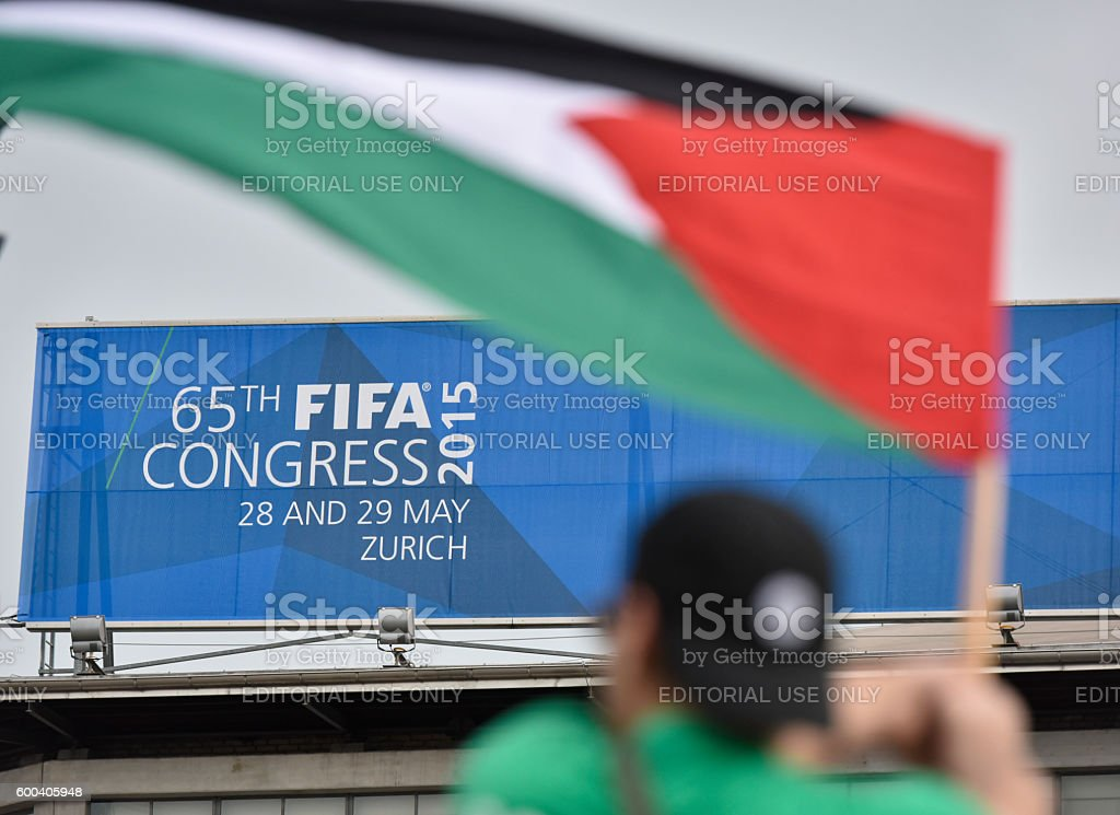 Protests upon arrival of FIFA delegates at Zurich FIFA congress stock photo