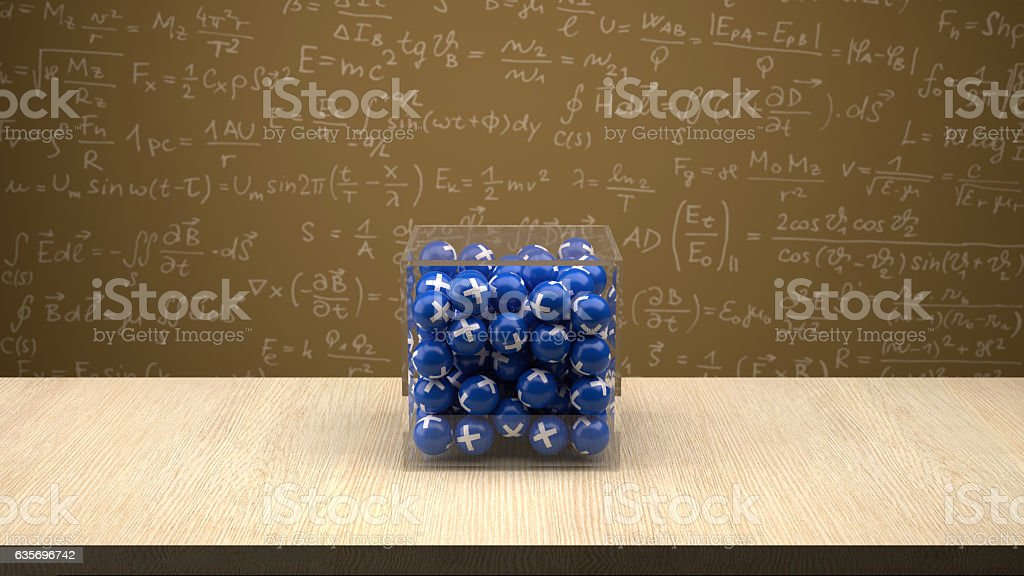 Proton box in front of physics board. royalty-free stock photo