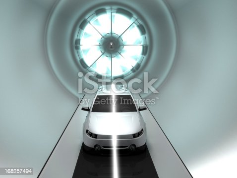 3D illustration of car in wind tunnel