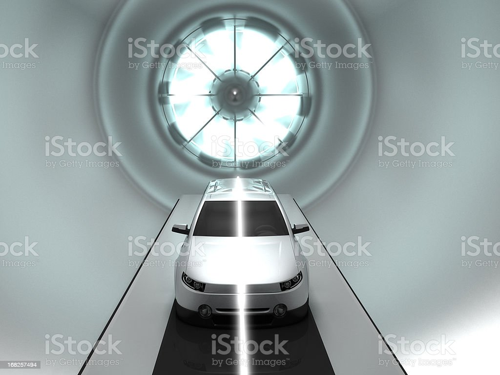 Prototype white vehicle located in a wind tunnel stock photo